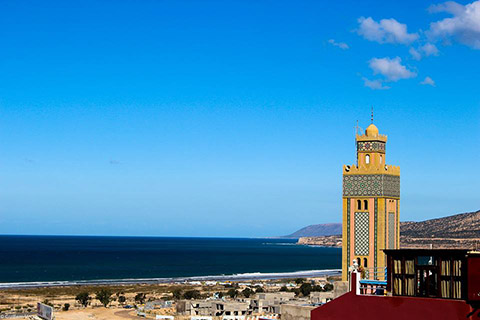 View to the Mosquee of Tamraght and over Taghazout Bay