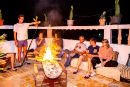 Pro Surf Morocco terrace barbecue diner hostel surf camp agadir taghazout tamraght morocco